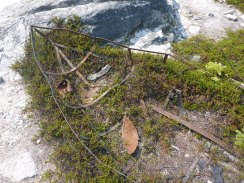 The metal frame of an old boat near Deep Lake