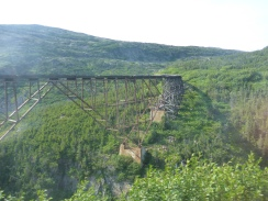 An old trestle bridge. I believe it held some record when it was built, and was used up until only a few decades ago.