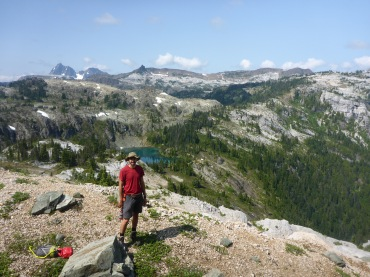Halfway up Marble Peak. Note the Golden Hinde in hte background.