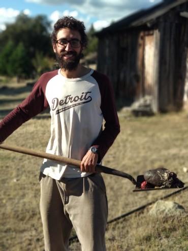 Elliott and a shovel full of sheep testicles